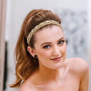 Shelby Beaded Headband - gold and crystal headband