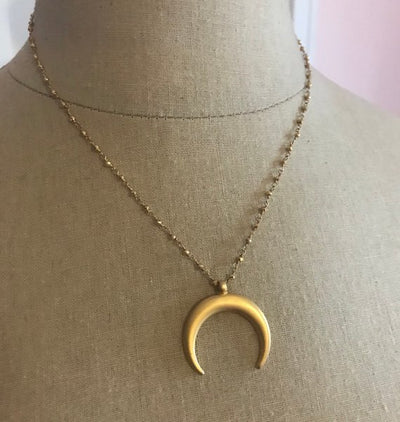 Gold Double Horn Pendant Necklace