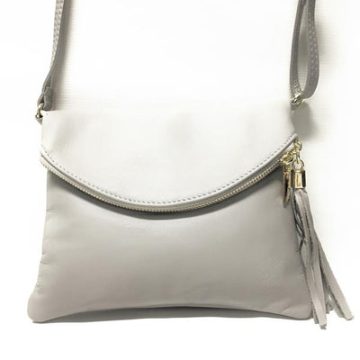 Soft Italian Leather Purse, Gray with zipper closure