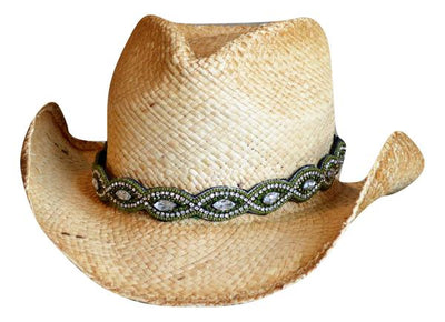 Heather Olive Green Beaded Cowboy Hat Band
