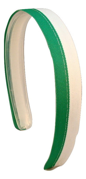 Green headband, white headband, interchageable headband, green and white headband