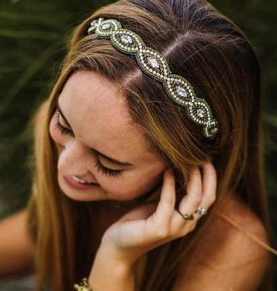 Heather Beaded Headband - Olive green hand beaded headband
