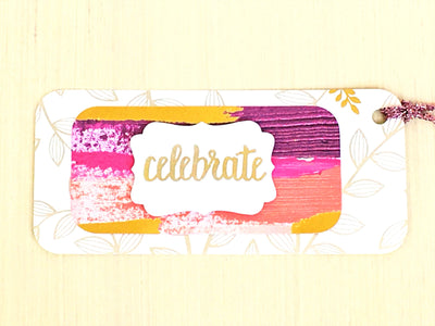 Hand Made Gift Tags- CELEBRATE set of 8 - Infinity Headbands by Ambrosia Designs