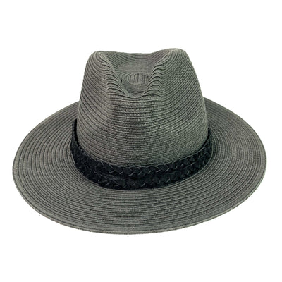 Double Braided Black Leather Hat Band