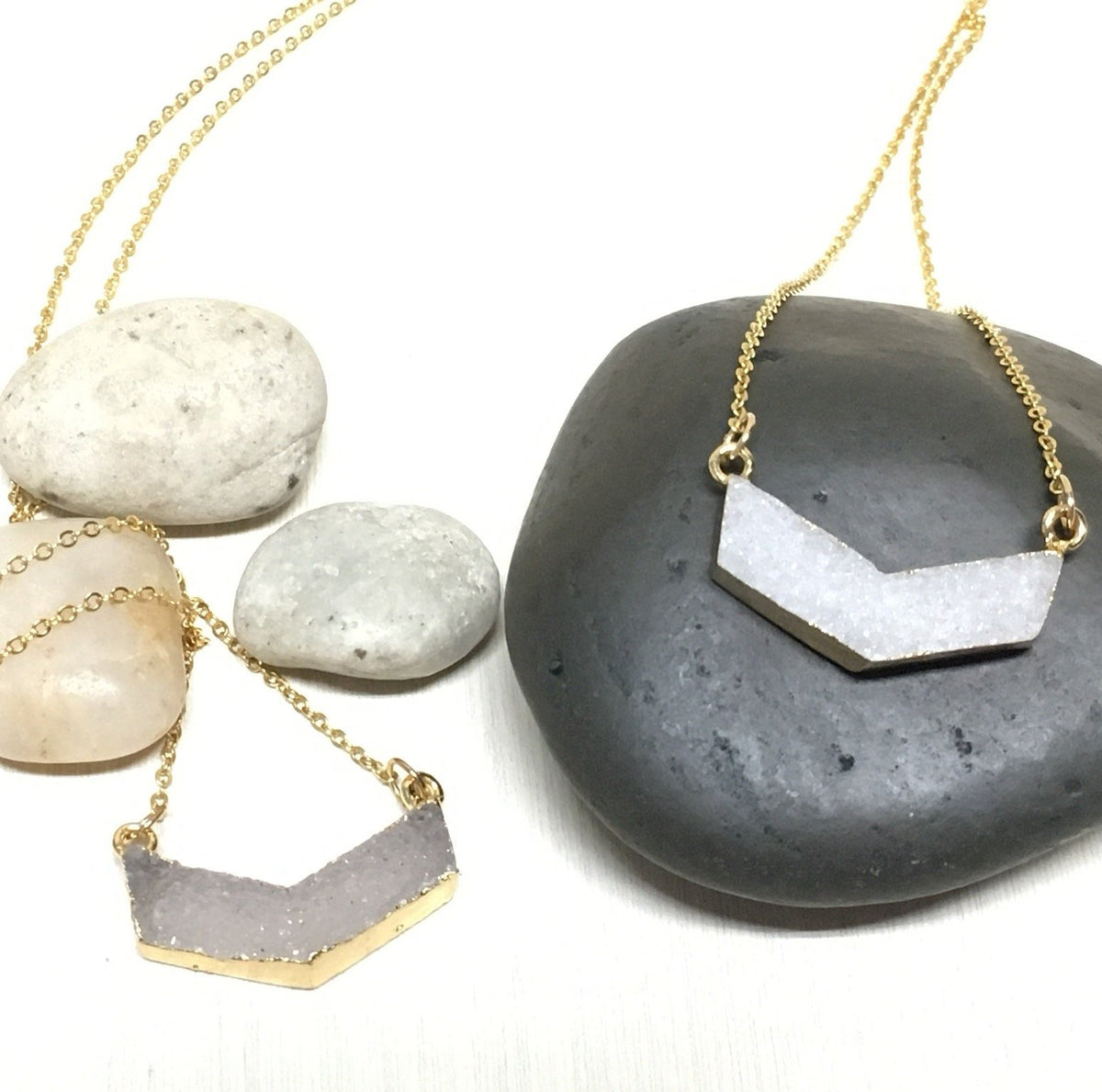 Chevron Druzy Necklace - Infinity Headbands by Ambrosia Designs