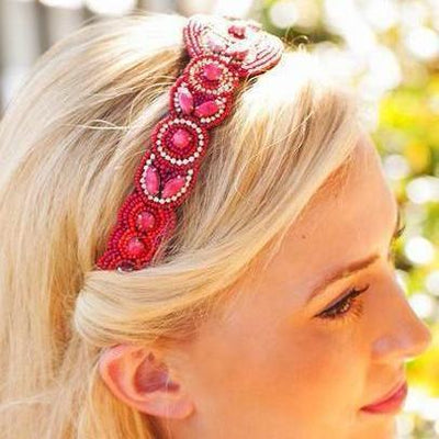 Isabella Beaded Headband - Red hand beaded headband