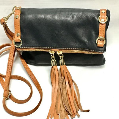 Tan and Black Leather Purse with tassels
