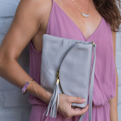 Gray soft leather purse, clutch