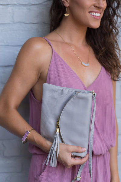 Italian Leather Gray Purse/Clutch