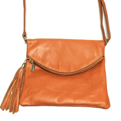 Brown Italian Leather Handbag with Tassel Zip