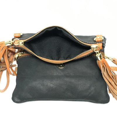 Soft Leather Purse with two zipper pockets, black and tan