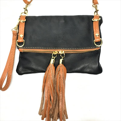 Italian Leather Crossbody Clutch Purse with straight flap and two tassels - Infinity Headbands by Ambrosia Designs
