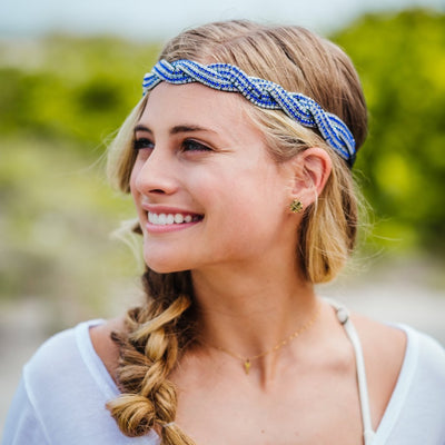 Kaylie Beaded Headband - Royal blue and white headband