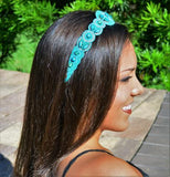 turquoise blue crystal beaded headband, elastic, adjustable