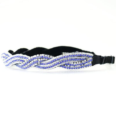 adjustable royal blue and white hand beaded headband