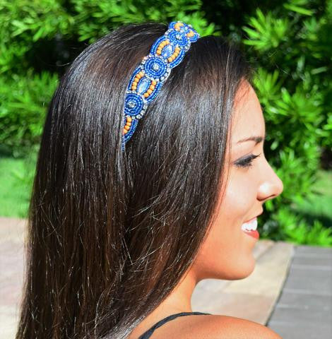 orange, blue, crystal beads, elastic headband
