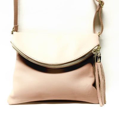 Blush Leather Handbag with Zipper Closure Tassel