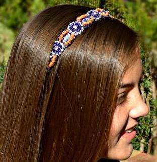 purple, orange, crystal beaded headband, Clemson