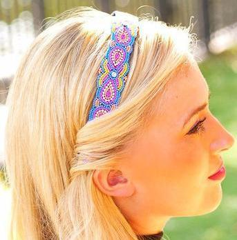 multi colored hand beaded headband