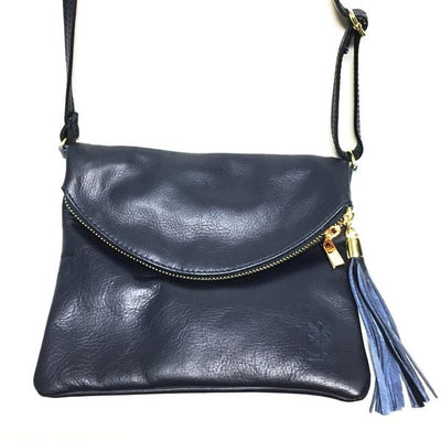 Navy Blue Italian Leather Handbag