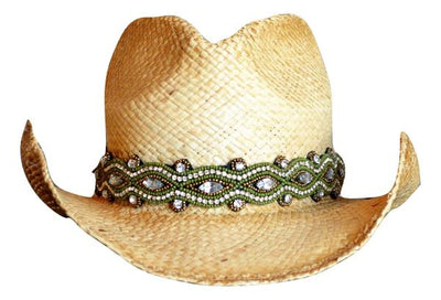Peighton Olive Green Beaded Cowboy Hat Band