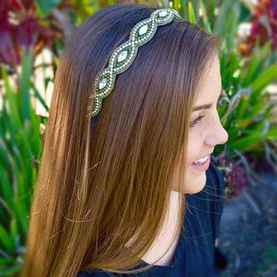olive green and crystal beaded headband