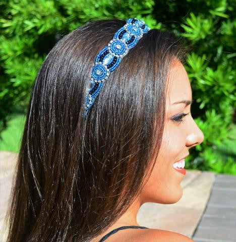 crystal rhinestone, blue beads, black beads, fashion headband