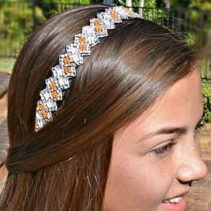 Natalie Beaded Headband - Orange and White headband
