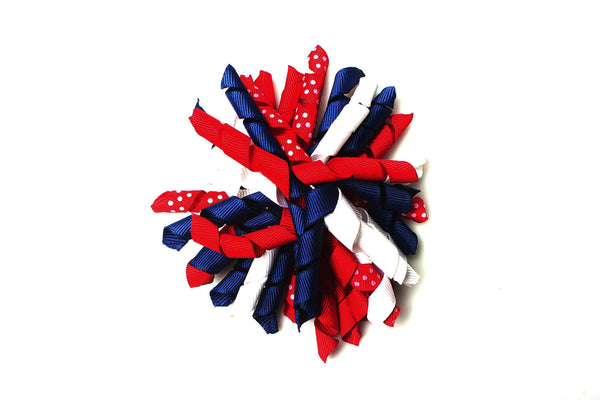 Red White and Blue Bow, curly bow, girls bows, patriotic bow,fourth of july bow