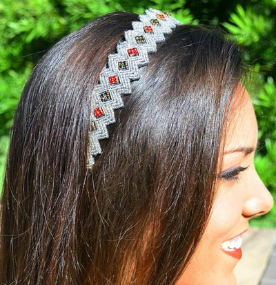 Julia Beaded Headband - Silver headband with red and black beads
