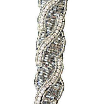 silver crystal beaded hat band