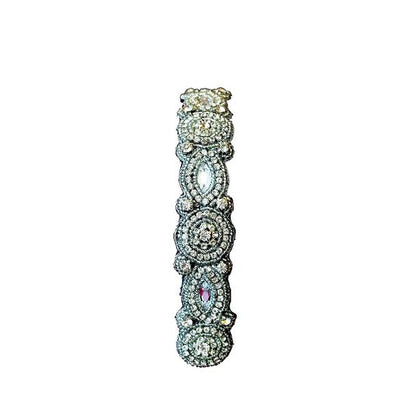 rhinestone hand beaded headband with adjustable strap