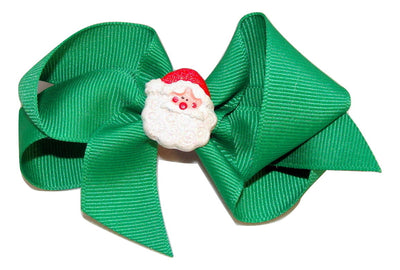green santa bow, resin santa