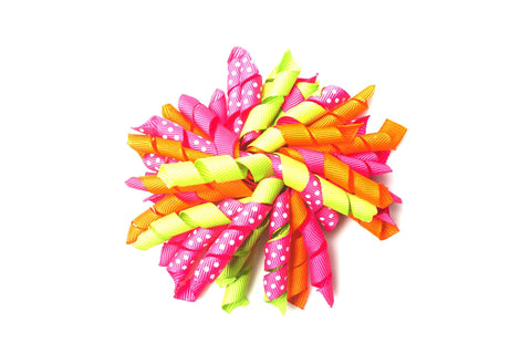 Sherbet Corker bow  Pink, orange and green bow, pink curly bow