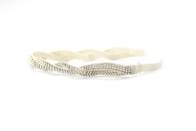 Silver beaded hat band with adjustable elastic