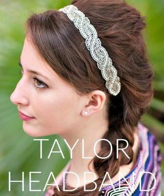 hand beaded silver headband, fashion headband