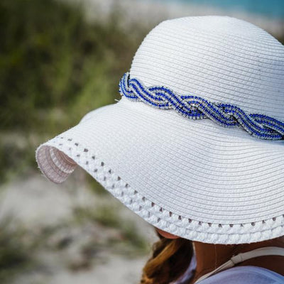 Twisted beaded hat band for sun hat