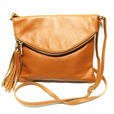 Tan Leather Handbag with Crossbody Strap