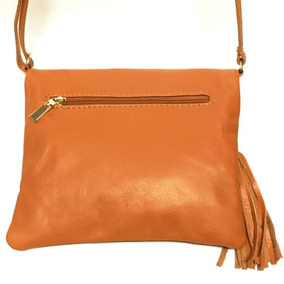 Tan Italian Leather Purse with outside zip pocket