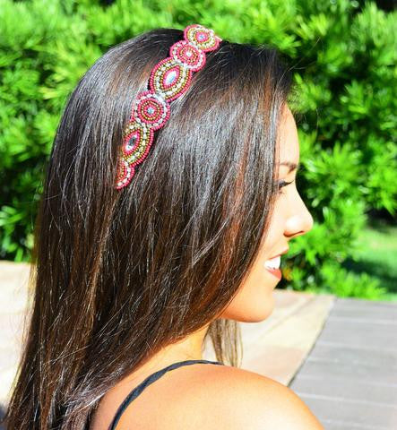 Tatum Headband Garnet and Gold