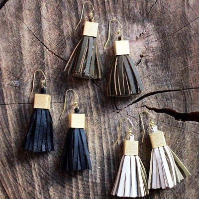 Vegan Leather Mini Tassels with Brushed Gold Cube - Infinity Headbands by Ambrosia Designs
