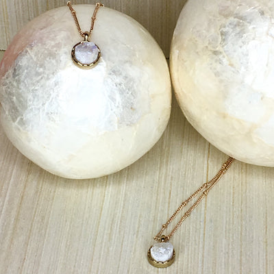 two druzy necklaces, white druzy