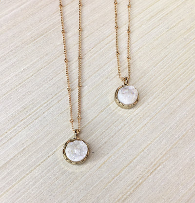 white druzy necklaces on gold beaded chain