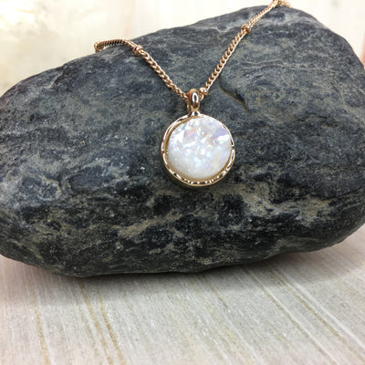 white druzy pendant necklace