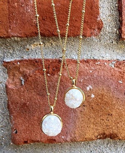 white druzy pendant necklaces