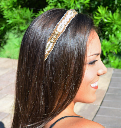 Gold and white beaded headband