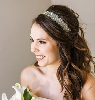rhinestone and crystal hand beaded headband