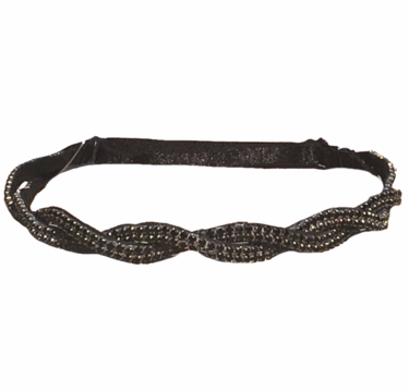 black adjustable headband hand beaded