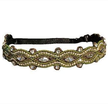 hand beaded green headband with adjustable strap