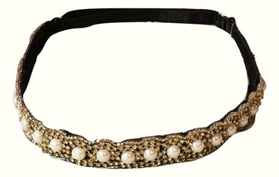 Nicole Gold and Pearl Beaded Hat Band with adjustable elastic